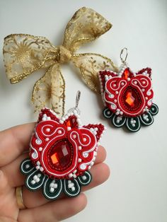 MirSi handmade jewels: Red soutache tulip earrings with red cabochon, white seed beads and green leaves