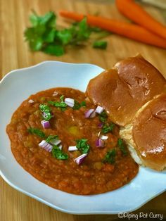 Pav Bhaji,a popular Indian street food, made in Instant Pot. Pav Bhaji made with potatoes and vegetables cooked in a tomato base, and enjoyed with pav.