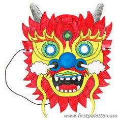 Create this easy paper Chinese dragon mask from a printable dragon mask template. Chinese New Year Crafts For Kids, Chinese New Year Dragon, Chinese Crafts, Fun Crafts For Kids, Kids Fun, Chinese Opera Mask, Dragon Mask, Dragon Head, Dragon Costume