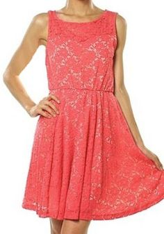 Fresh lace coral dress by kris  Incredible Deal of the day today! https://www.krisandkate.com/dealoftheday.html $52