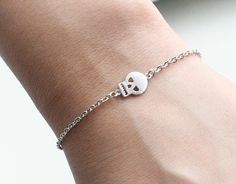 Silver Cute Heart Eyes Skull Bracelet, Dainty Bracelet, Sideways Bracelet, Chic Bracelet, Simple Jewerly, Minimalist Jewelry on Etsy $10.00