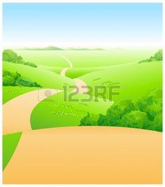 Diese Abbildung ist eine gemeinsame Naturlandschaft. Weg über grüne Landschaft Illustration