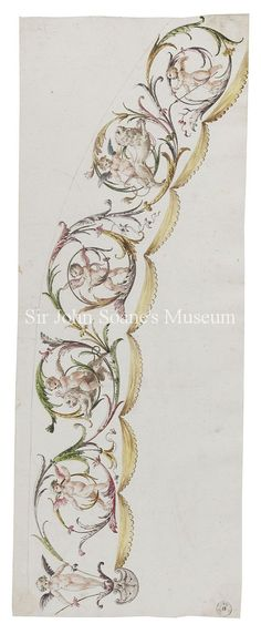 Record drawing, possibly unfinished, of part of a vault decoration showing six cupids, two with lions, in sinuous foliage. Below are scalloped pelmets