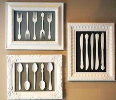 DIY framed utensil art. Great gift idea for someone who loves to cook!