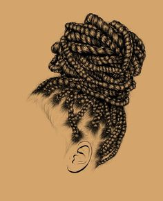 All styles of box braids to sublimate her hair afro On long box braids, everything is allowed! For fans of all kinds of buns, Afro braids in XXL bun bun work as well as the low glamorous bun Zoe Kravitz. Black Art, Black Girl Art, Black Women Art, Black Girl Magic, Art Girl, Box Braids Bun, Box Braids Hairstyles, Drawing Hairstyles, Latest Hairstyles
