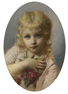 "Nikolai Kornilievich Bodarevsky (1850-1921), ""Portrait of a Girl with Roses"""