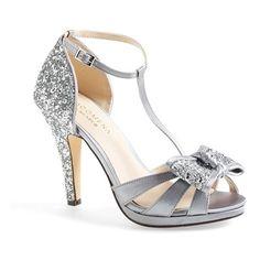 "Menbur 'Bornehl' Satin & Glitter Pump, 4 1/4"" heel (€92) ❤ liked on Polyvore featuring shoes, pumps, heels, silver, platform heels pumps, ankle strap high heel pumps, high heel shoes, ankle strap shoes and glitter pumps"
