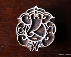 Sello blockprint, textil estampilla, sello de madera de India tallada mano, sello de cerámica - Ganesha