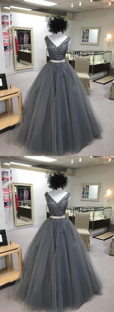 Grey 2 Pieces Homecoming Dresses V-Neck Beaded Long Prom Dresses Tulle A-Line Evening Formal Dresses,HS769 #fashion#promdress#eveningdress#promgowns#cocktaildress