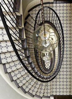 black + white tiled staircase