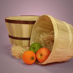 Wood Slat Peck Farm Baskets