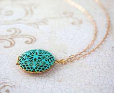 Gold  Locket Necklace, Gold Necklace, Photo Locket, Family Photo, Filigree Locket, Patina Locket, Locket Pendant, Birthday Gift, Long Chain on Etsy, $23.50