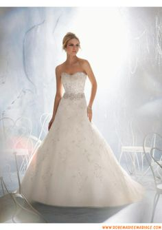 Belle robe de mariée princesse organza broderie perles