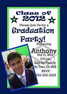Graduation Invitation diy Printable Party Invites Personalized Custom Orders Boy Graduation by Mis2Manos, $11.00 USD