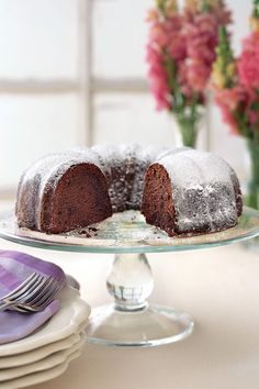 """Recipe: Buttermilk-Mexican Chocolate Pound Cake  Online User Comment: """"This cake is not as dry as other pound cakes, and the cinnamon gives it a great flavor! I served it with whipped cream to a large group of people, and everyone loved it!""""Meredith"""