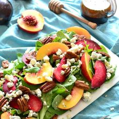 Stone Fruit Salad squareThis Stone Fruit Salad combines sweet plums and nectarines with crunchy pecans, blue cheese, and balsamic vinaigrette. It's an explosion of flavor in every bite.....the perfect end of summer salad!