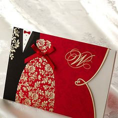 Asian Style Embossed Wedding Invitation - Set of 50 – EUR € 56.01