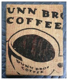 Dunn Bros Coffee Bean Bag Wall Art.  via Etsy.  Already have a coffee bag hanging on our kitchen wall that I need to panel.