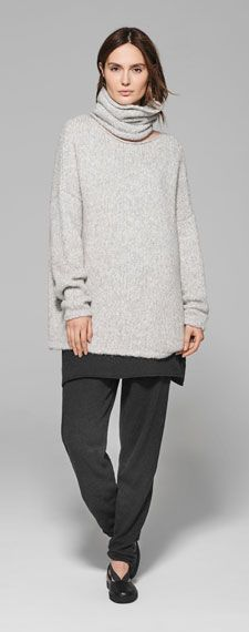 A unique brand in the world of fashion, Sarah Pacini speaks to women in search of a modern and timeless allure with style and substance. Sarah Pacini, Relaxed Outfit, Shades Of Grey, World Of Fashion, Normcore, Turtle Neck, Brand New, In This Moment, Knitting