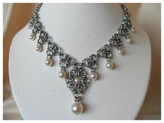 Pearl chain maille necklace