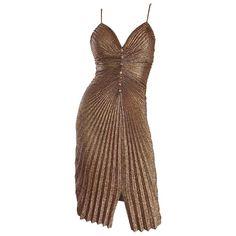 931a8e9e 1970s Vintage Samir Sexy Gold Bronze Studio 54 Pleated Metallic Disco 70s  Dress
