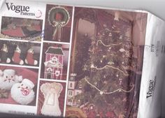 Vogue 2776 Pattern Uncut FF Holiday Christmas Decorations Wreath Ornaments Stocking Angel Santa