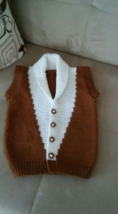 Two Color Knitted Boys Vest - Baby Kids Vests, Ladies Cardigan Knitting Patterns, Baby Boy Knitting Patterns, Baby Cardigan Knitting Pattern, Knitting For Kids, Knitting Designs, Baby Patterns, Knit Baby Sweaters, Crochet For Boys, Sweater Design