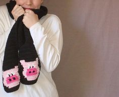 Pig Scarf - Pink and Black Scarf - Crochet Scarf - Hoooked Scarves for Men or Women by Hoooked, $35.00