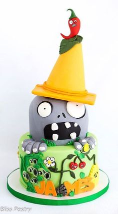 Plants vs Zombies cake Zombie Birthday Parties, Zombie Party, 5th Birthday, Birthday Ideas, Plants Vs Zombies, Plantas Versus Zombies, Chocolates, Plant Zombie, Plant Vs Zombie Cake