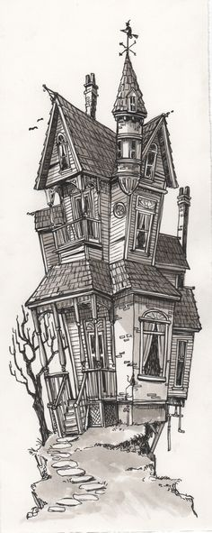 Image of Spooky House Building Drawing, Building Art, Haunted House Drawing, Tree House Drawing, Casa Halloween, Spooky House, Perspective Art, House Sketch, Alien Art