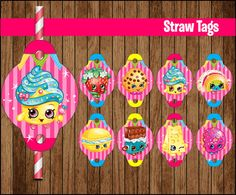 INSTANT DOWNLOAD Straw Tags - Printable fold-over toppers featuring Simply print, cut out, and attach and more. ---- This item cannot be modified in