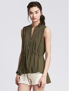 Drawstring Sleeveless Top | Banana Republic $80