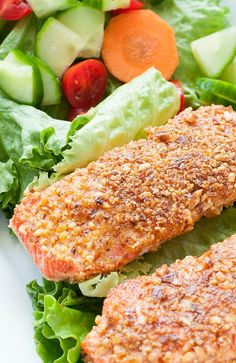 Salmon Recipes, Fish Recipes, Seafood Recipes, New Recipes, Favorite Recipes, Healthy Recipes, Recipies, Almond Crusted Salmon Recipe, Clean Eating Recipes