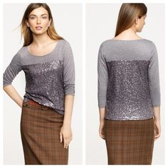 J. Crew sequined heathered  tee Looks like new. Probably worn just once.                                         d J. Crew Tops