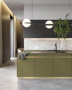 "526 kedvelés, 9 hozzászólás – Neutral Instinct - Amanda (@neutralinstinct) Instagram-hozzászólása: ""If we do colour, we do green! Beautiful detail in this unique kitchen via @behance Studio DEnew…"""