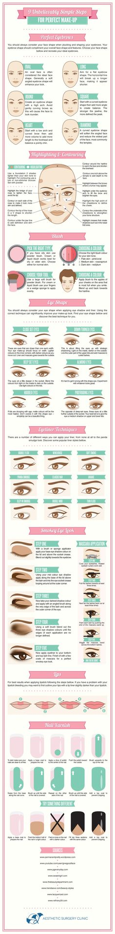 Planning a big night out when everything has to look just so?Save a few bucks on a professional makeup artist and do it yourself with  this infographic that covers everything from the achieving a killer manicure to contouring and highlighting tips for the whole face.Via Visual.ly.Like infographics? So do we.Photo credit: Fotolia, Graphics credit: Canva