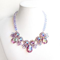 Aurora Borealis Rhinestone Bib Necklace  Lilac and by GetNoticed