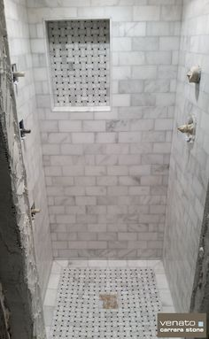 """Carrara Venato Dogbone Basketweave Mosaic $12.95SF and Venato 3x6"""" Honed Subway Tile $7.00SF An almost completed Carrara Venato shower. The Dogbone mosaic looks great and the 3x6"""" is perfect. Wha..."""