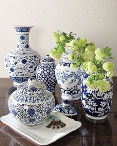 classic blue and white ginger jars from Williams Sonoma
