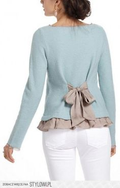 OR two bows instead of one (one on each side at waist) Idea to upcycle sweater