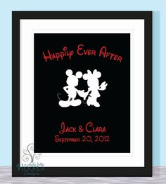 Mickey and Minnie Happily Ever After - 8.5x11 - True Love Custom Print - Wedding, Anniversary, Bridal Shower, Love, Family, Friendship