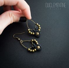 Bohemian black earrings micromacrame earrings от OuiClementine