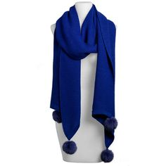 Solid Muffler With Rabbit Poms-Blue
