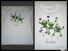 camiseta pintada a mano ranas