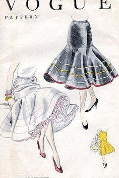 """A very unique slip pattern! Fitted through the hips and flaring at the hem, this could be worn under the then-new """"mermaid"""" style dresses. Vintage Vogue Patterns, Motif Vintage, Vintage Slip, Vintage Outfits, Vintage Fashion, Retro Fashion, Patron Vintage, Lingerie Patterns, Fashion History"""