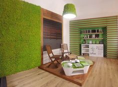 Moss Wall, chk the table, looks cool Apartment Therapy, Green Interior Design, Moss Wall, Wood Slats, Outdoor Furniture Sets, Outdoor Decor, Wall Design, Design Trends, Interior Architecture