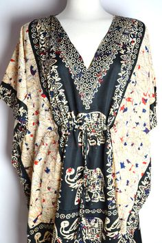 Boho Black Paisley Tribal Caftan Plus Size Beach Pool Cover Up Dress Tunic Summer Handmade Kaftan Summer Dress on Etsy, $34.00