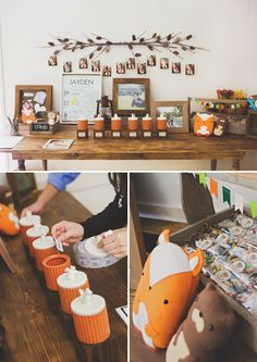 Rustic Woodland Camping First Birthday Party... Love the rustic feel & little foxes. Totes can do bears with this as well