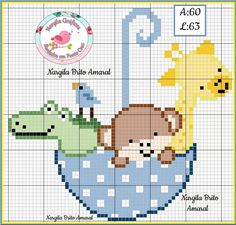 Cross Stitch For Kids, Cross Stitch Cards, Cross Stitch Animals, Cross Stitch Embroidery, Cross Stitch Patterns, Pixel Crochet Blanket, C2c Crochet, Baby Blanket Crochet, Crochet Baby