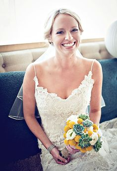 Gorgeous lace on the dress - and cute bouquet!